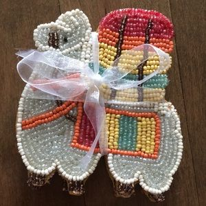 Set of four beaded llama alpaca coasters